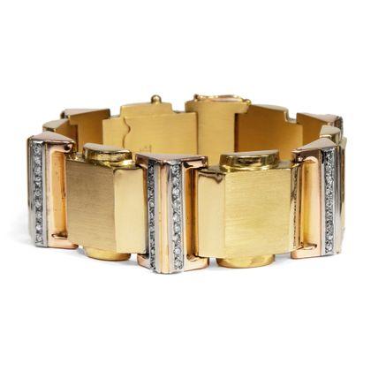 Moderne Zeiten - Phänomenales Gold- & Diamant-Armband des Art Déco, um1940. Photo © 2019 Hofer Antikschmuck Berlin
