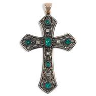 Um 1920 Antikes Brustkreuz 750 Gold Smaragd & Diamanten Kreuz Anhänger Pektorale