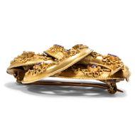 Das Band der Liebe - Antike Liebesknoten Brosche aus Gold & Rhodolit, um 1850. Photo © 2019 Hofer Antikschmuck Berlin