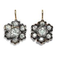 Belle Epoque Ohrringe mit Diamanten Blüten Ohrringe aus Gold & Silber Brillanten