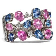London 2004: Vintage Ring, blaue & pinke Saphire, Diamanten, 750 Weißgold Saphir