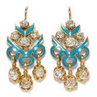 Treu und Ewig. Großartige Diamant Ohrringe in 750 Gold & Türkisem Email, um 1850