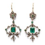 Antike Smaragd Ohrringe: Diamanten Silber & Gold um 1890 / Diamant Rosen