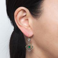 Fest für die Sinne - Antike Smaragd-Ohrhänger mit Diamantrosen in Silber & Gold, um 1890. Photo © 2019 Hofer Antikschmuck Berlin