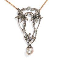 Antiker Jugendstil ANHÄNGER mit Diamanten & Perle mit Kette, Art Nouveau