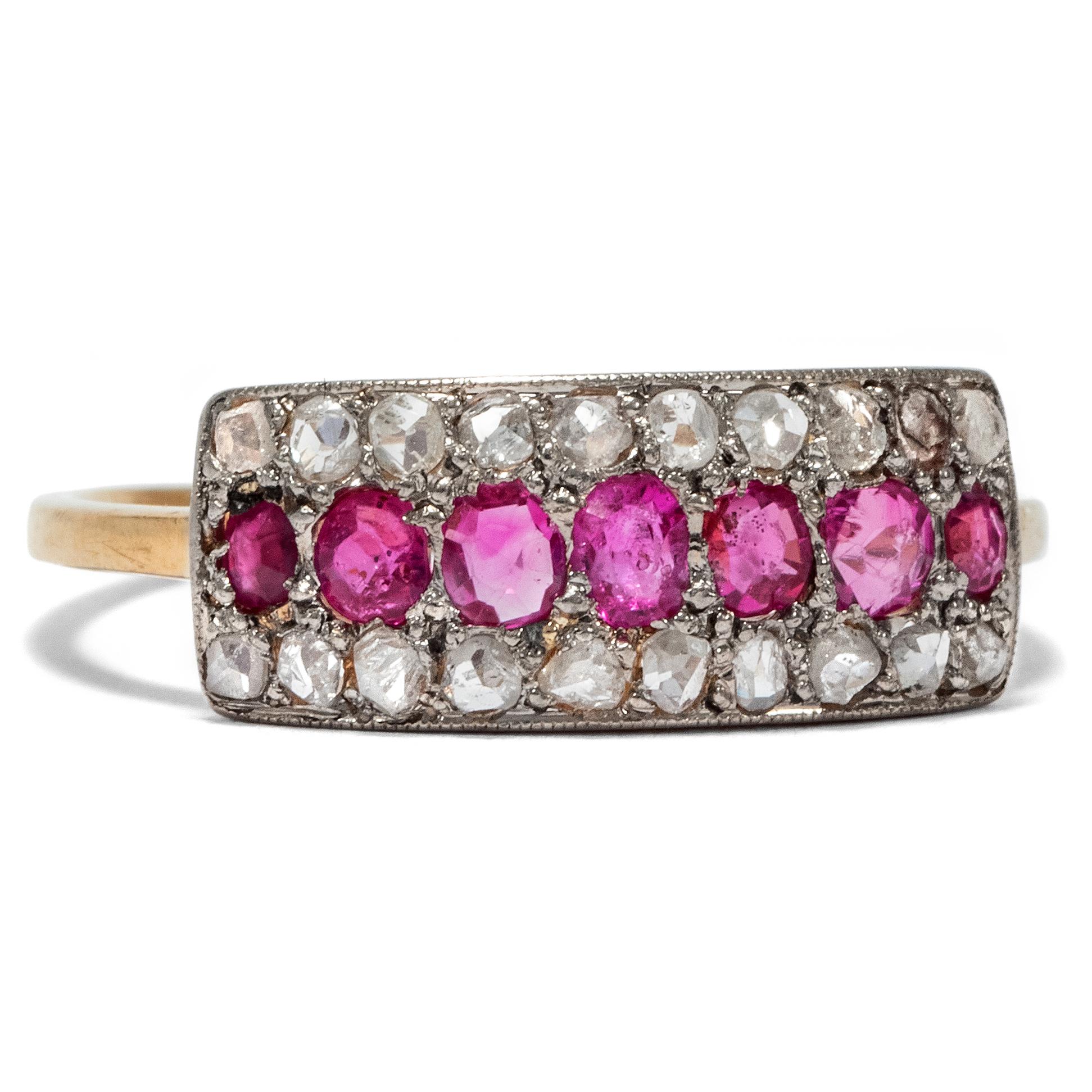 Echtschmuck Nadel Brosche Mit Brillant Diamant Rubin Brillant In Aus Platin Rubinen Unikate & Goldschmiedearbeiten