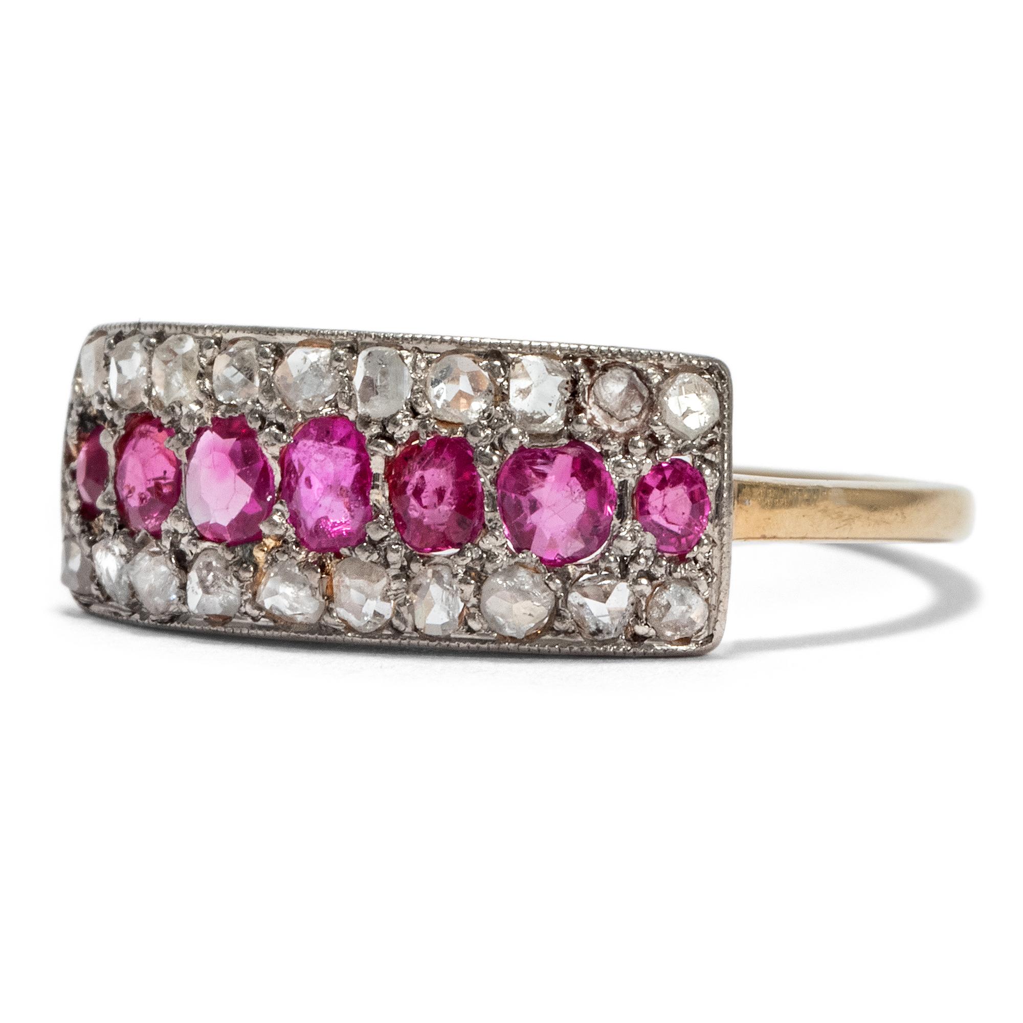 Nadel Brosche Mit Brillant Diamant Rubin Brillant In Aus Platin Rubinen Unikate & Goldschmiedearbeiten