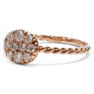 Feuriges Funkeln - Zeitgenössischer Ring aus Roségold mit zehn Diamanten, Italien 2018. Photo © 2019 Hofer Antikschmuck Berlin