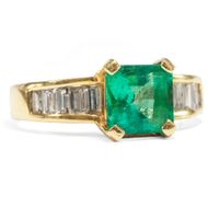 Edel! Smaragd & Diamant RING in 750 Gelbgold, Gold / Vintage Emerald