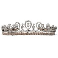 Antikes Diadem aus Platin mit 14,69 ct Diamanten, London um 1910 / Edwardian
