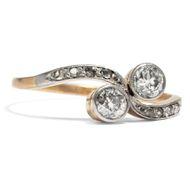 Toi & Moi um 1905: Antiker Diamant Ring Platin & Gold / Brillant Verlobungsring