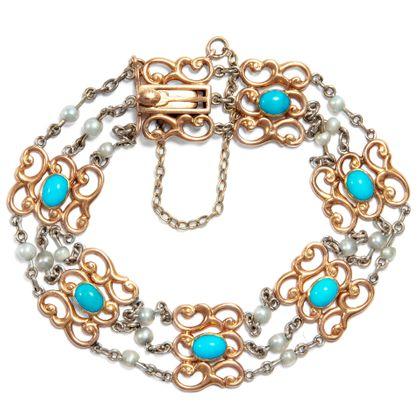 Liebste, vergiss mein nicht! - Britisches Armband mit Türkisen & Perlen in Gold, um 1910. Photo © 2019 Hofer Antikschmuck Berlin