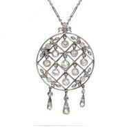 Antikes Collier: 1,02 ct Diamanten in Platin um 1910 / Anhänger Brosche Weißgold