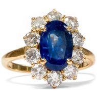 Entourage Ring, 3,2 ct NO HEAT Saphir & 1,25 ct Diamanten in 750er Gold, 1980er
