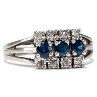 Vintage Saphir & Diamant Ring Gold Verlobungsring, Diamanten / 585 Weißgold