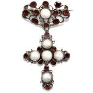 Antike Rokoko Kreuz Brosche aus Silber, Granat & Natur Perlen, um 1750 Barock