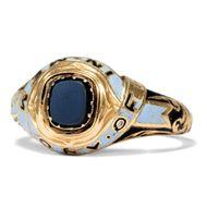 In Memory of... - Viktorianischer Trauer-Ring in Gold mit Emaildekor, London1852. Photo © 2019 Hofer Antikschmuck Berlin