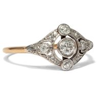 Belle Époque um 1910: RING in 750 Gold Platin & Diamanten Diamant Verlobungsring