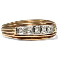 Um 1950: Vintage RING mit Diamanten in 585 Gold & Platin Diamant Verlobungsring