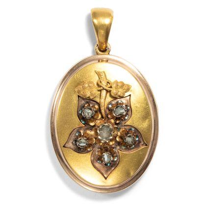 Gefallene Blätter - Sentimentales großes Medaillon aus Diamanten & Gold, Wienum 1880. Photo © 2019 Hofer Antikschmuck Berlin
