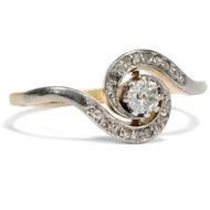 Um 1905: Schöner Diamant Ring mit 0,13 ct Brillant Solitär in 585 Gold & Platin
