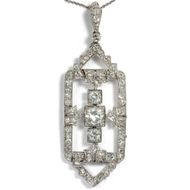 Antiker Art Déco Diamant Anhänger in Platin, um 1928 Diamanten / Collier Kette