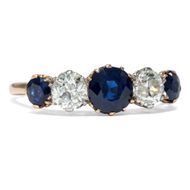 Um 1910: Antiker Saphir Diamant Ring in 750er Gold, Verlobungsring / edwardian