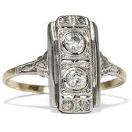 Art Déco TOI et MOI Ring mit Altschliff Diamanten Gold 585 Platin Verlobungsring