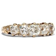 Victorian um 1895: Antiker Diamant RING in 750 Gold, Diamanten Verlobungsring