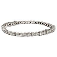 Antikes Diamant Tennis Armband, 4,80 ct Brillanten in Platin, Riviere, um 1925