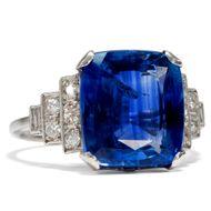 Traumhafter Saphir & Diamant Ring in Platin des Art Déco, um 1930 Sapphire Deco