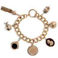 Um 1900. Antikes Gold ARMBAND, Bettelarmband: 7 ANHÄNGER, Sammelarmband