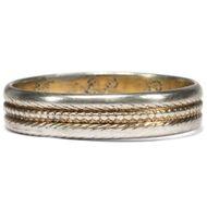 Antiker Ehe-Ring datiert 1823, Silber & Gold, innen graviert / Klassizismus
