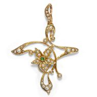 Antiker Jugendstil Anhänger um 1900: Demantoid, Perlen, 15ct 625 Gold, Edwardian