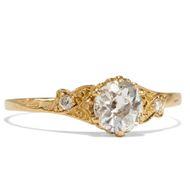 Feiner Gelbgold-Ring mit 0,66 ct Altschliff-Diamant, aus unserer Werkstatt