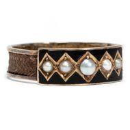 Victorian um 1870: Antiker Trauerring Gold Email Haar Perlen Ring Trauerschmuck