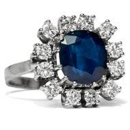 Um 1965: Natürlicher 4,10ct Saphir Ring mit Diamanten in 585 Weißgold Gold