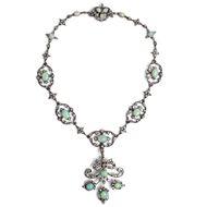 Von Queensland nach London - Prachtvolles Collier mit Opalen und 5,06 ct Diamanten, um1895. Photo © 2019 Hofer Antikschmuck Berlin