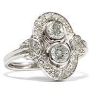 Eleganter 585 Weißgold Ring mit 1,08 ct Brillant im späten Art Déco, um 1955