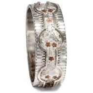 Victorian um 1890: Breiter Silber Armreif m. Auflagen aus Gold, Armband Bracelet