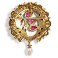 Indische Leidenschaften - Exotische vintage Brosche/Anhänger mit Rubinen, Diamanten & Perlen in Gold, 2. Hälfte des 20. Jh.. Photo © 2019 Hofer Antikschmuck Berlin