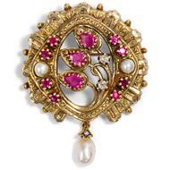 Vintage Brosche / Anhänger mit Rubinen, Diamanten & Perlen in 585 Gold / Indien