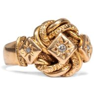 Antiker Knoten Ring mit 3 Diamanten in 750er 18ct Gold GG, Birmingham 1919
