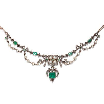 À la mode - Prachtvolles Collier der Belle Époque mit Smaragden, Diamanten & Naturperlen, um 1890. Photo © 2019 Hofer Antikschmuck Berlin
