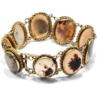 Schottland um 1870: Antikes Moosachat Armband in Gold Pebble Highlands