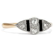 Art Deco um 1925: Weißgold & Platin, Onyx & Diamant Ring / Diamanten Brillant
