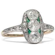 Antiker Ring um 1910: 0,60 ct Diamanten, Smaragde, Gold, Platin / Verlobung