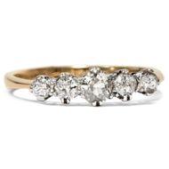 Edwardianischer Ring aus 750er Gold & 5 Diamanten, Verlobung Altschliff, um 1910