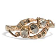 Zwischen Rokoko und Orient - Verspielter Vintage Ring mit Diamanten in Roségold, Indien, Mitte des 20. Jh.. Photo © 2019 Hofer Antikschmuck Berlin