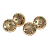 Frankreich um 1900: Antike 750 Gold Manschettenknöpfe mit Smaragd & Diamant
